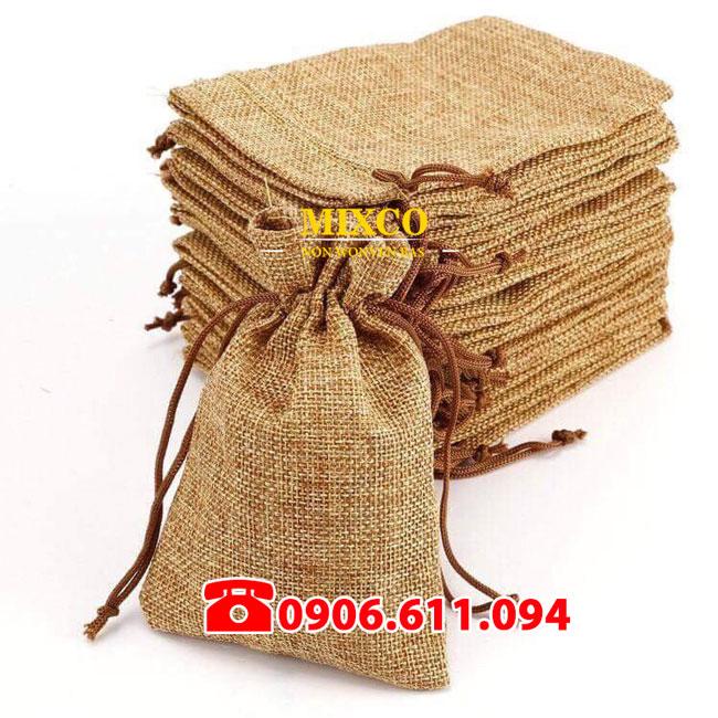 Túi vải đay có dây rút giá rẻ TPHCM Mixco